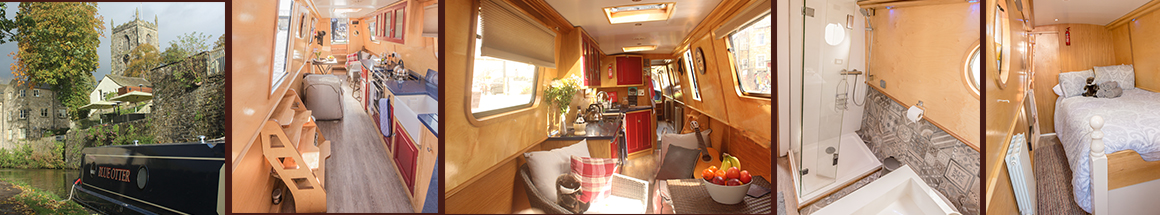 Narrow boat moored in Skipton. Kitchen, bathroom and bedroom interiors on the luxury narrowboat